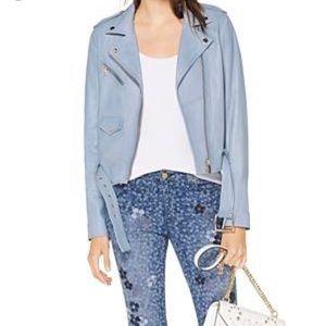 Michael Kors Chambray Blue Leather Moto Jacket M